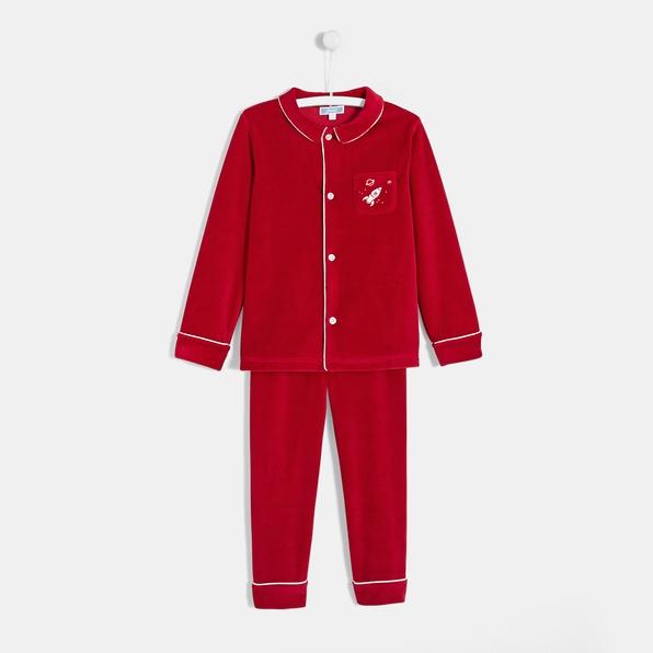 photographe-naissance-paris-pyjama-rouge-noel-garcon
