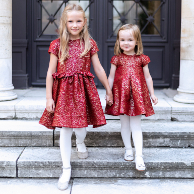 photographe-naissance-paris-robe-jacquard-lurex-rouge