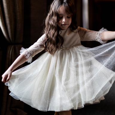 photographe-naissance-paris-robe-tulle-pois-or